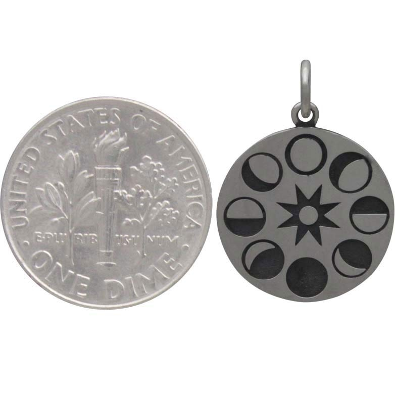 Sterling Silver Moon Phases Pendant on Circle Disk 21x15mm