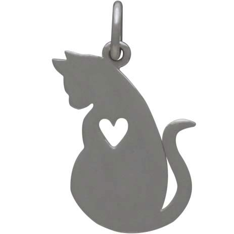 Sterling Silver Mommy Cat Charm with Heart Cutout 20x12mm