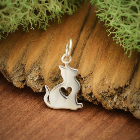 Sterling Silver Baby Cat Charm with Heart Cutout 16x9mm