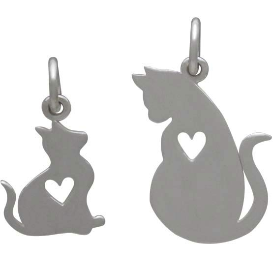 Sterling Silver Mommy and Baby Cat Charm Set