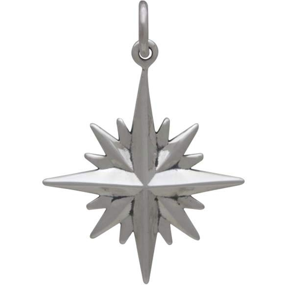 Sterling Silver North Star Charm with 16 Points