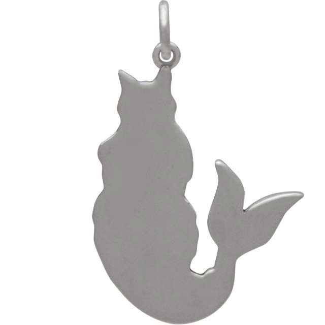 Sterling Silver Purr-maid Charm - Cat Mermaid Charm 27x18mm