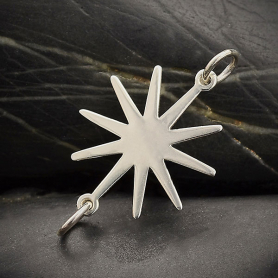 Sterling Silver Sun Link 28x16mm