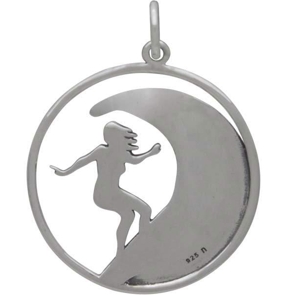 Sterling Silver Surfer Girl Charm 26x20mm