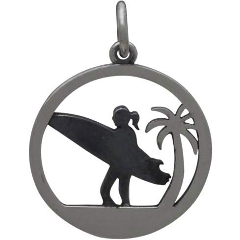 Sterling Silver Surfer Charm with Palm Tree 21x15mm