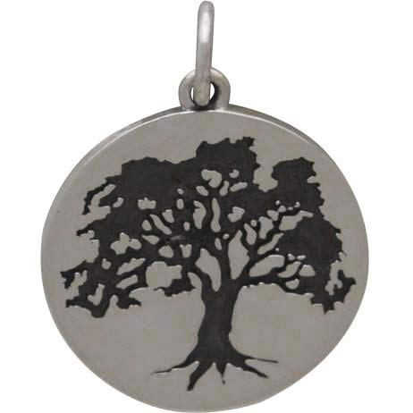 Sterling Silver Etched Oak Tree Charm