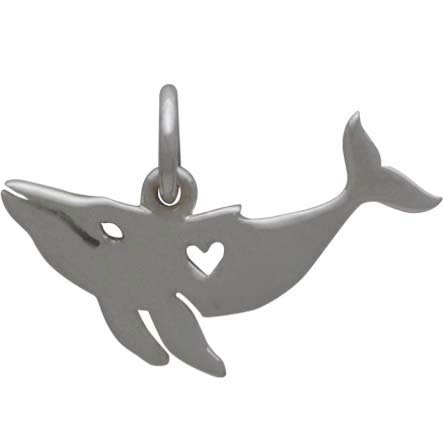 Sterling Silver Humpback Whale Charm w Heart Cutout 12x18mm