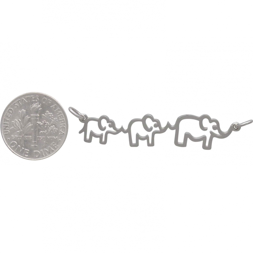 Sterling Silver Mama and Two Baby Elephant Pendant 12x45mm