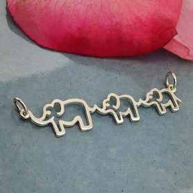 Sterling Silver Mama and Two Baby Elephant Pendant 10x45mm