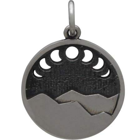 Sterling Silver Mountain Charm w Moon Phase Cutouts 20x14mm