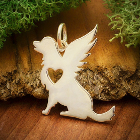 Sterling Silver Angel Dog Charm