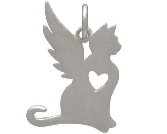 Sterling Silver Angel Cat Charm 18x13mm