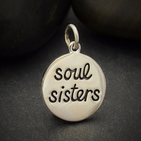 Sterling Silver Message Charm - Soul Sisters