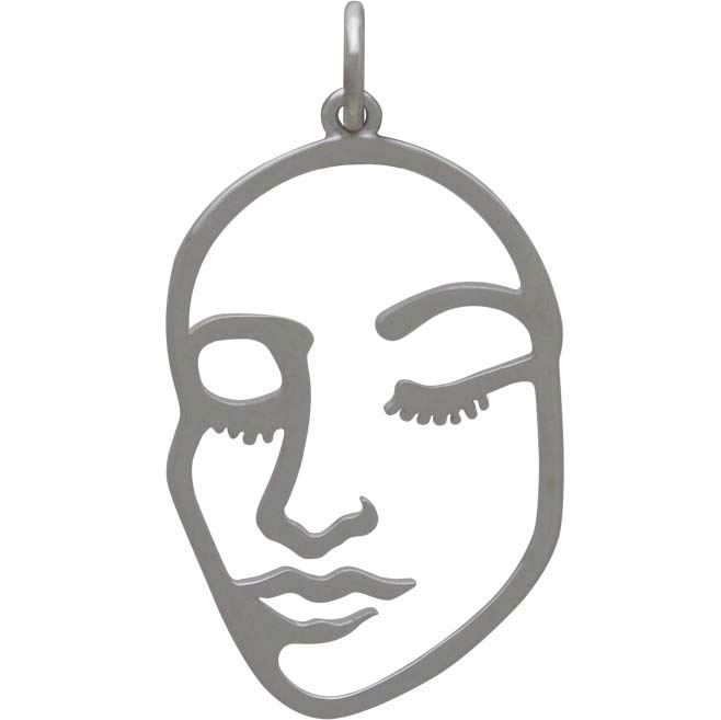 Sterling Silver Stylized Openwork Face Charm