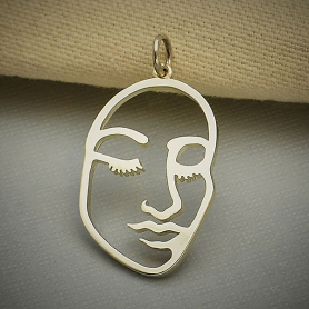 Sterling Silver Stylized Openwork Face Charm 28x16mm