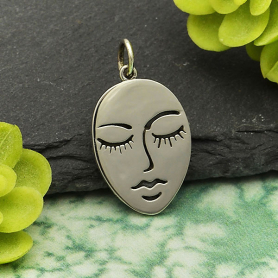 Sterling Silver Stylized Etched Face Charm