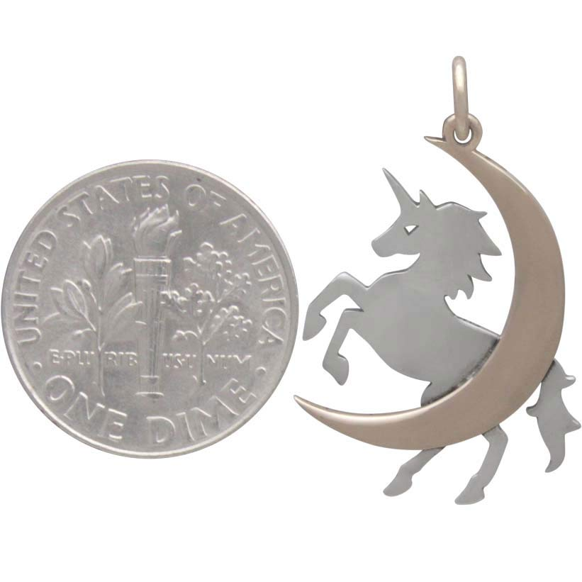 Sterling Silver Unicorn Charm with Bronze Moon