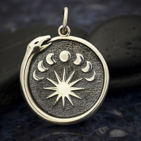 Sterling Silver Ouroboros Charm with Moon Phases