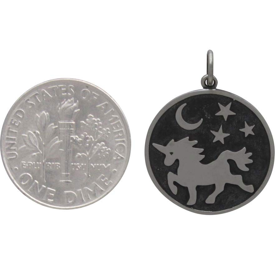 Sterling Silver Unicorn Pendant with Moon and Stars 23x18mm