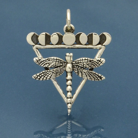 Sterling Silver Dragonfly Charm with Moon Phases