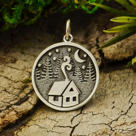 Sterling Silver Cabin Charm with Trees and Moon