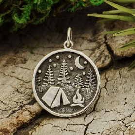 Sterling Silver Camping Charm with Tent and Trees