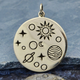 Sterling Silver Solar System Charm on a Disk