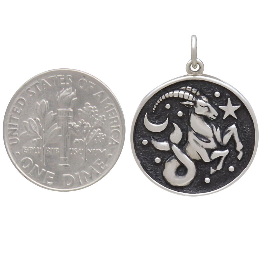 Sterling Silver Astrology Capricorn Pendant 24x18mm