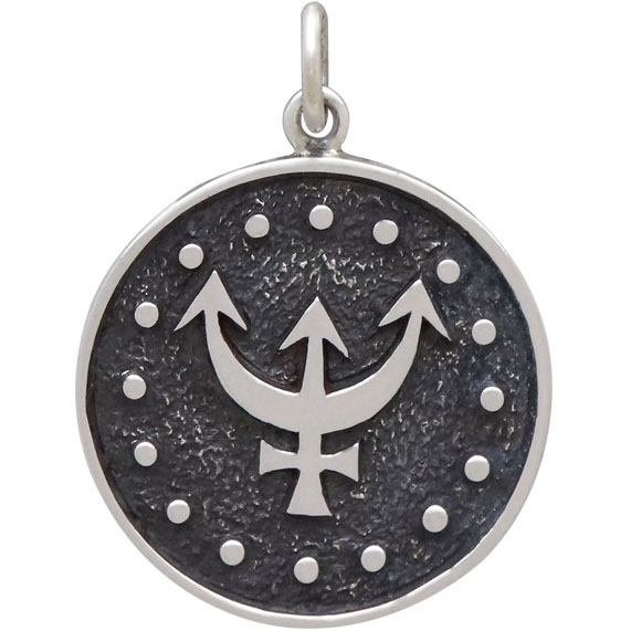 Sterling Silver Astrology Pisces Pendant 24x18mm