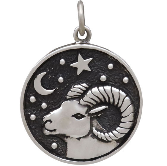 Sterling Silver Astrology Aries Pendant 24x18mm