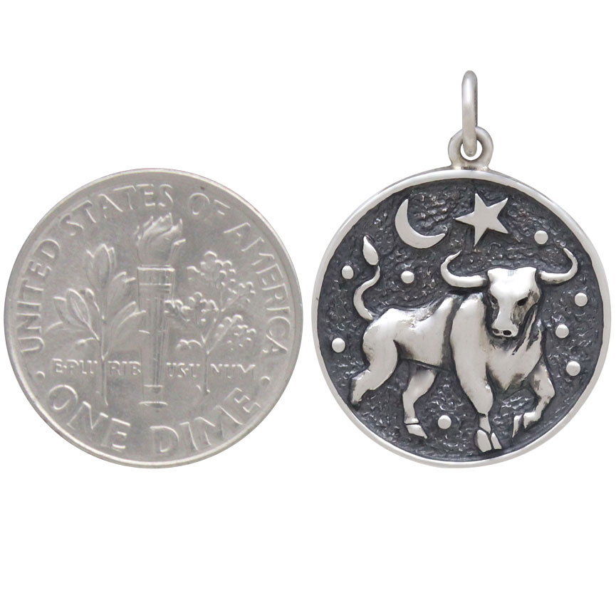 Sterling Silver Astrology Taurus Pendant 24x18mm