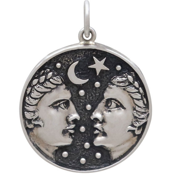 Sterling Silver Astrology Gemini Pendant 24x18mm