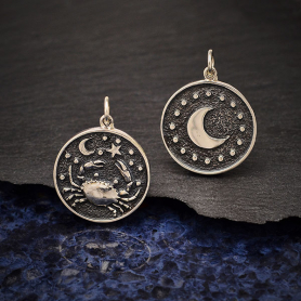 Sterling Silver Astrology Cancer Pendant 24x18mm