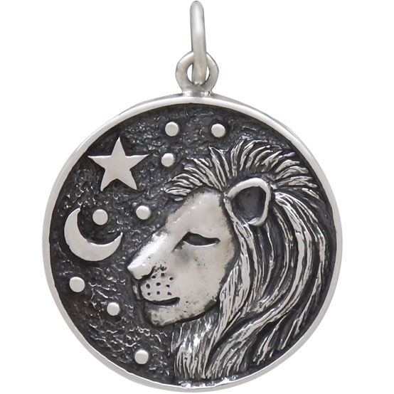 Sterling Silver Astrology Leo Pendant 24x18mm