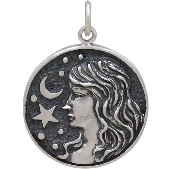 Sterling Silver Astrology Virgo Pendant 24x18mm