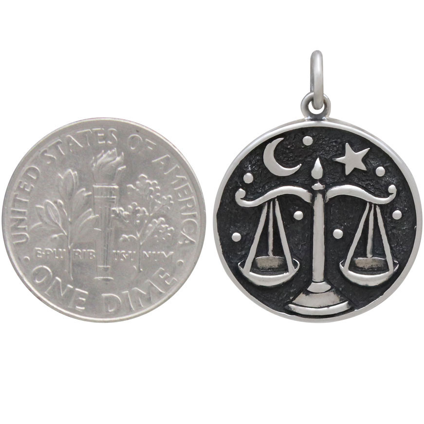 Sterling Silver Astrology Libra Pendant 24x18mm