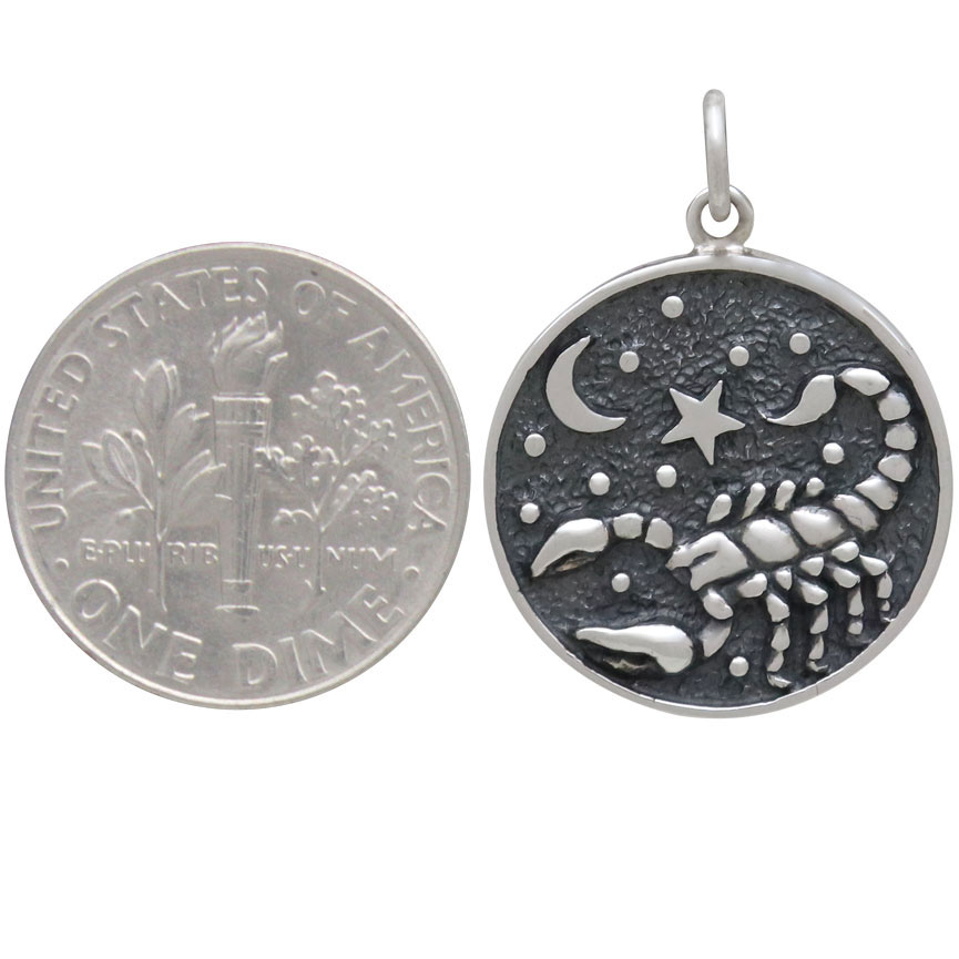 Sterling Silver Astrology Scorpio Pendant 24x18mm