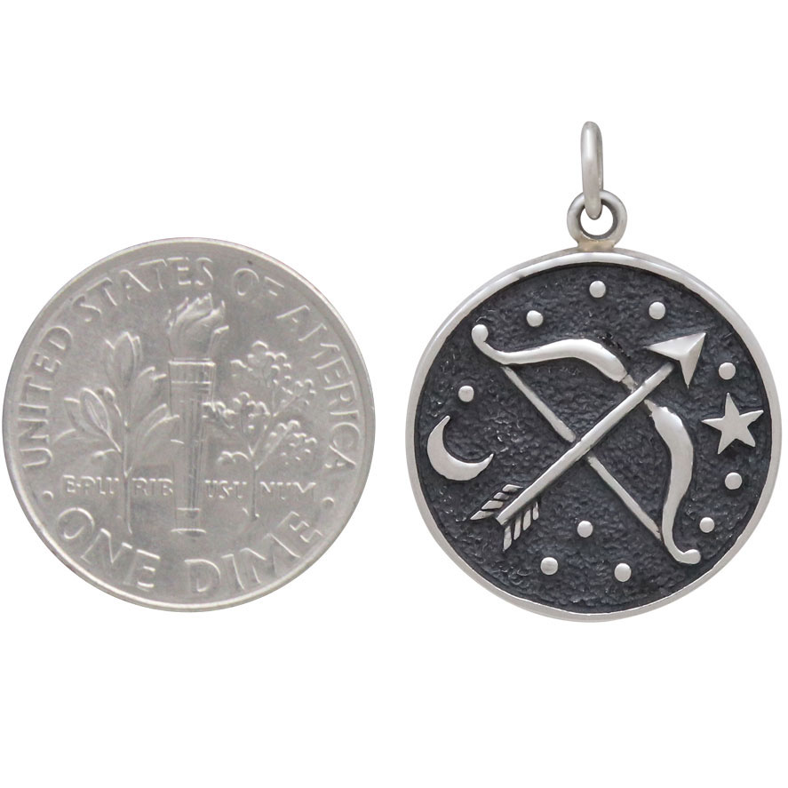 Sterling Silver Astrology Sagittarius Pendant 24x18mm