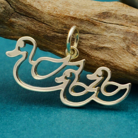 Sterling Silver Mama and Baby Duck Charm