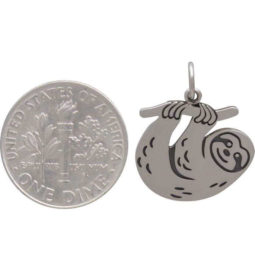 Sterling Silver Flat Sloth Charm