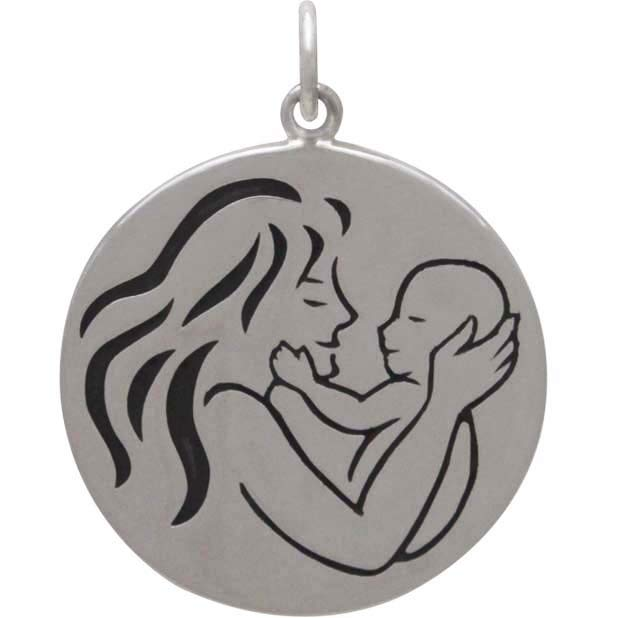 Sterling Silver Mom and Baby Pendant