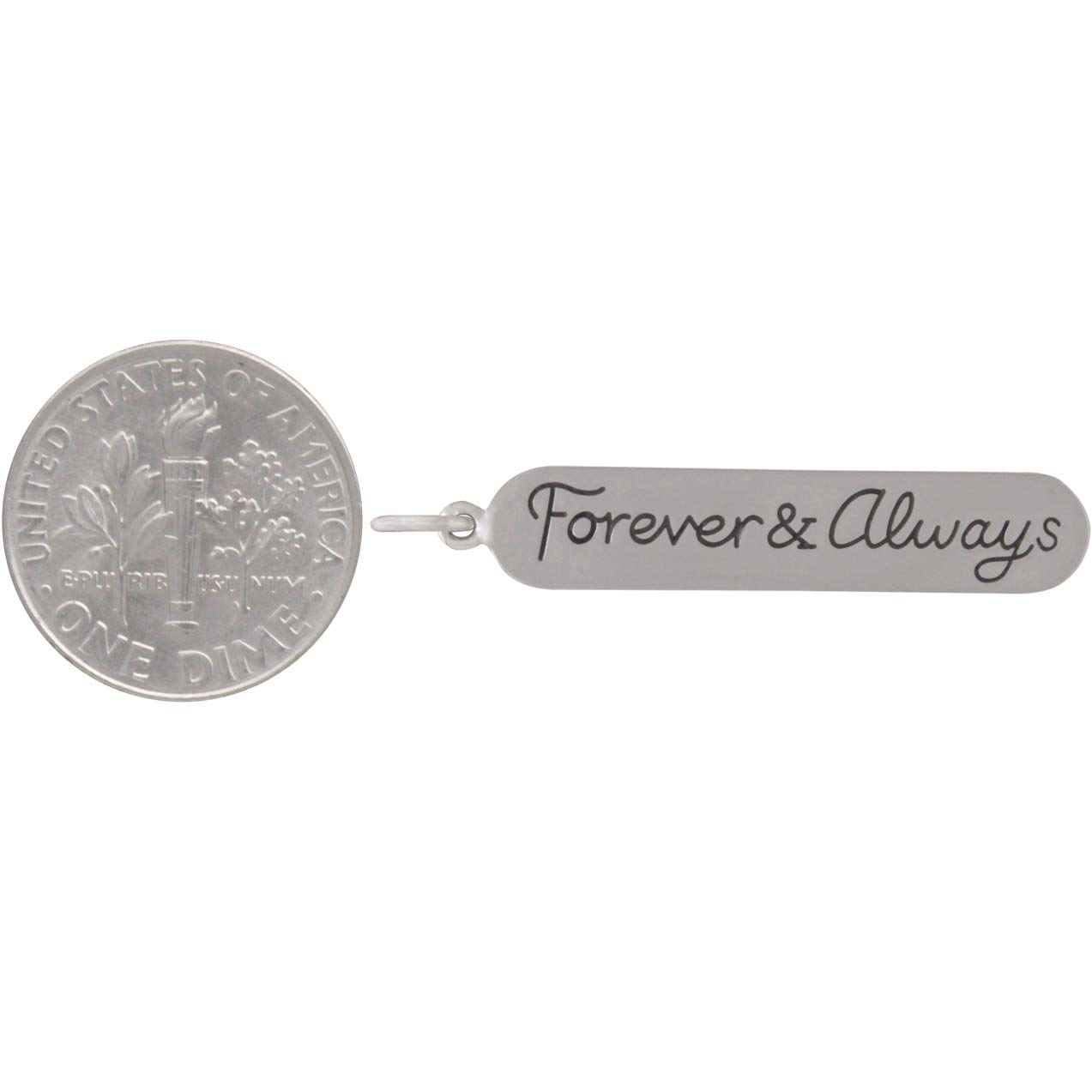 Sterling Silver Message Pendant - Forever and Always