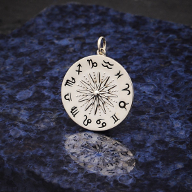 Sterling Silver Sun Pendant with Zodiac Signs 27x21mm