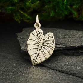 Sterling Silver Elephant Ear Leaf Charm