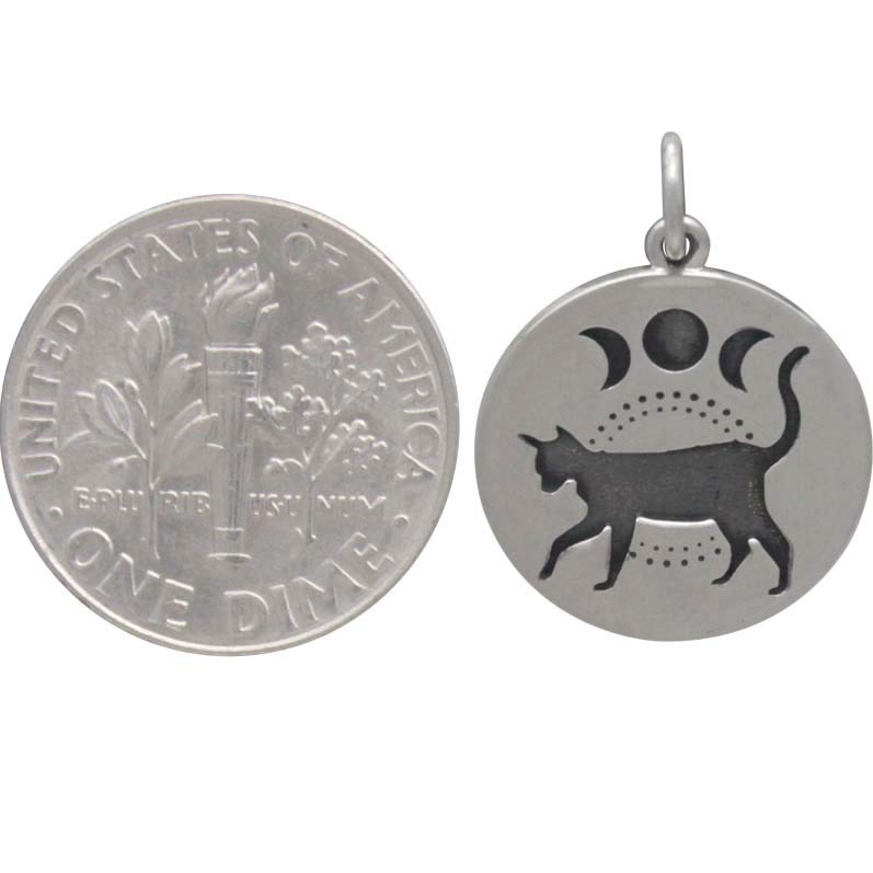 Sterling Silver Black Cat Charm with Moon Phases