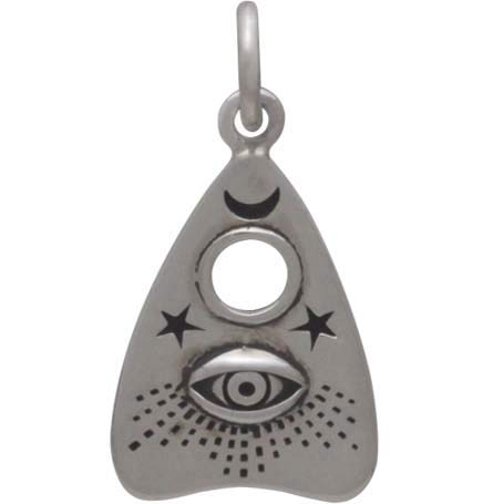 Sterling Silver Ouija Planchette Charm with All Seeing Eye