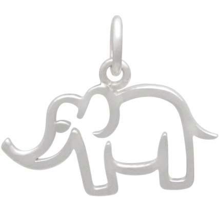Sterling Silver Openwork Mama Elephant Charm