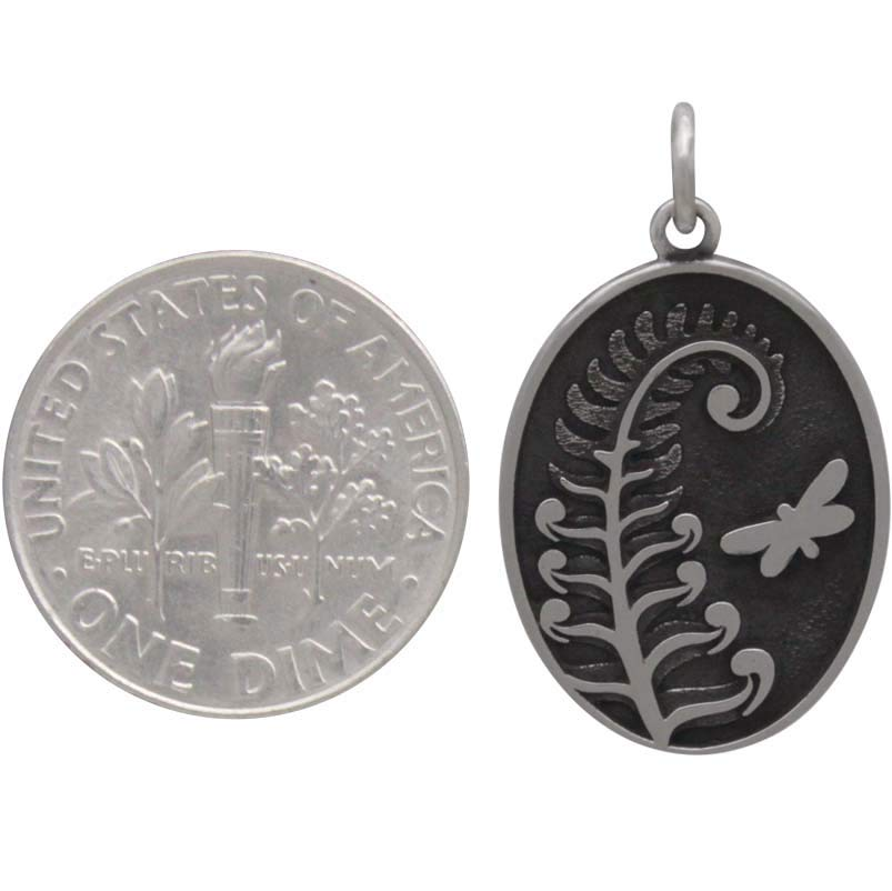 Sterling Silver Fern Charm with Butterfly