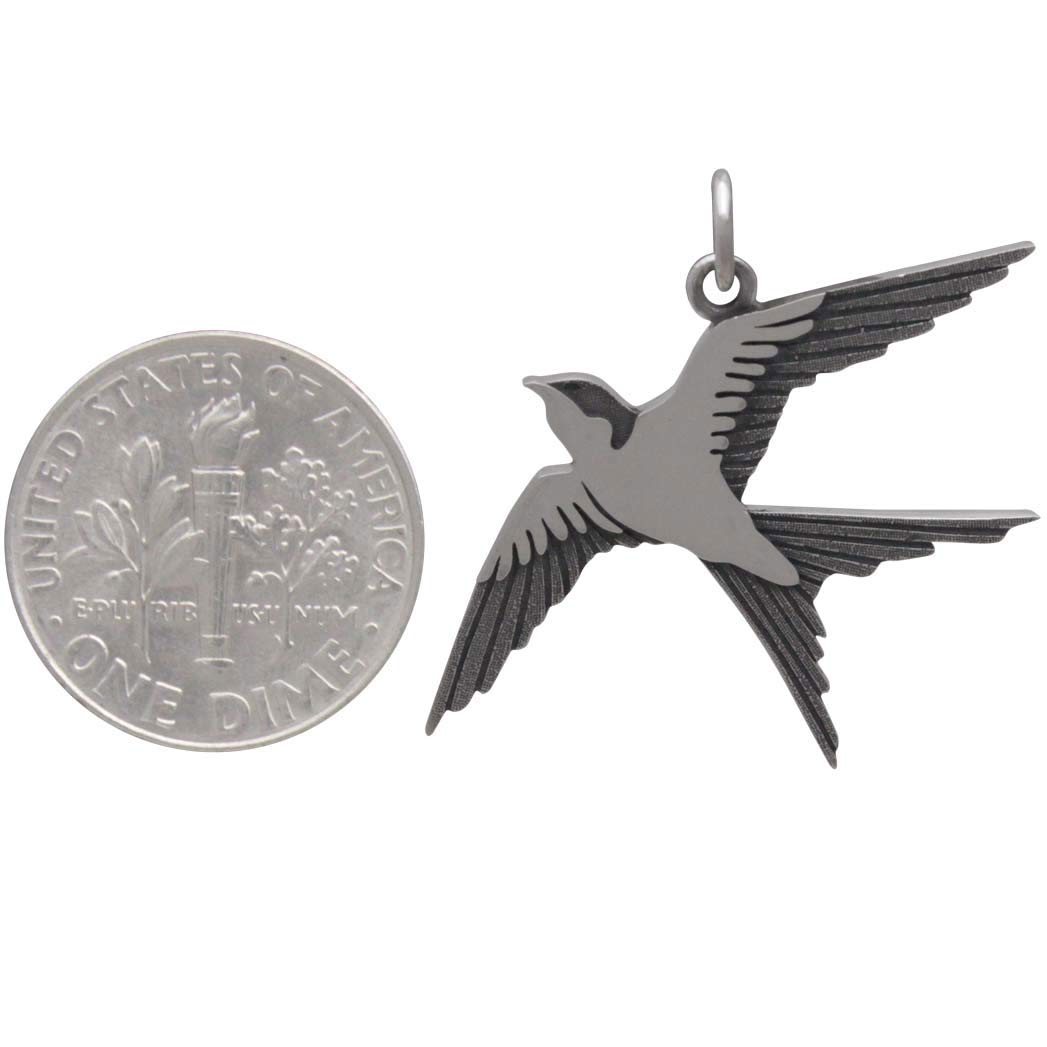 Sterling Silver Swallow Pendant