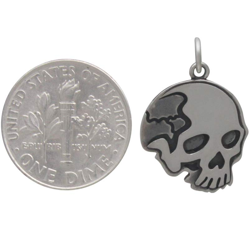 Sterling Silver Flat Skull Pendant
